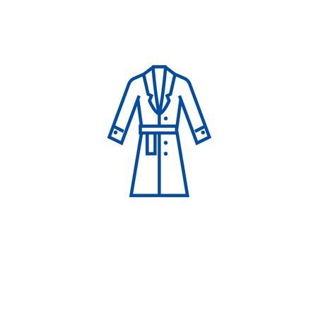 Illustrazione per Topcoat, winter coat line concept icon. Topcoat, winter coat flat  vector website sign, outline symbol, illustration. - Immagini Royalty Free