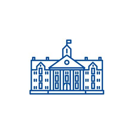 Illustration for University line concept icon. University flat  vector website sign, outline symbol, illustration. - Royalty Free Image