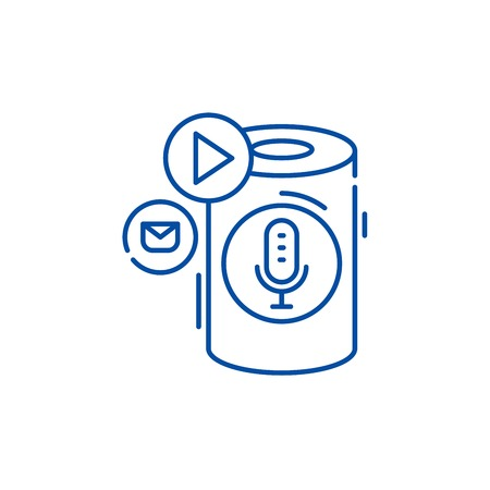 Ilustración de Voice assistant line concept icon. Voice assistant flat  vector website sign, outline symbol, illustration. - Imagen libre de derechos