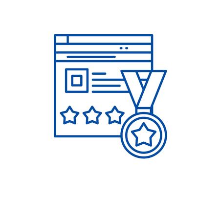 Ilustración de Webiste rating line concept icon. Webiste rating flat  vector website sign, outline symbol, illustration. - Imagen libre de derechos