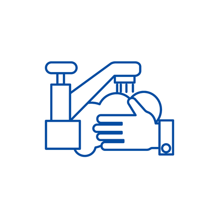 Ilustración de Washing hands,wash crane line concept icon. Washing hands,wash crane flat  vector website sign, outline symbol, illustration. - Imagen libre de derechos