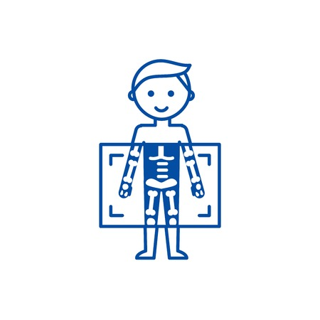 Ilustración de X ray,medical diagnostics man  line concept icon. X ray,medical diagnostics man  flat  vector website sign, outline symbol, illustration. - Imagen libre de derechos