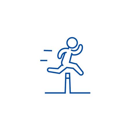 Ilustración de Obstacle race concept line concept icon.  Obstacle race concept flat  vector website sign, outline symbol, illustration. - Imagen libre de derechos