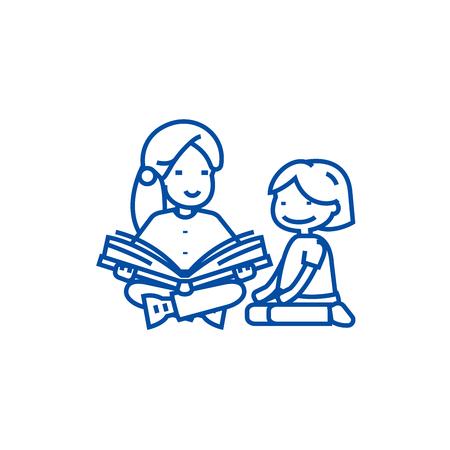 Illustration pour Kindergarten teacher,woman reading  line concept icon. Kindergarten teacher,woman reading  flat  vector website sign, outline symbol, illustration. - image libre de droit