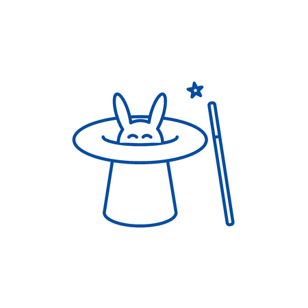 Illustration for Magician with rabbit,magic hat, wand trick line concept icon. Magician with rabbit,magic hat, wand trick flat  vector website sign, outline symbol, illustration. - Royalty Free Image