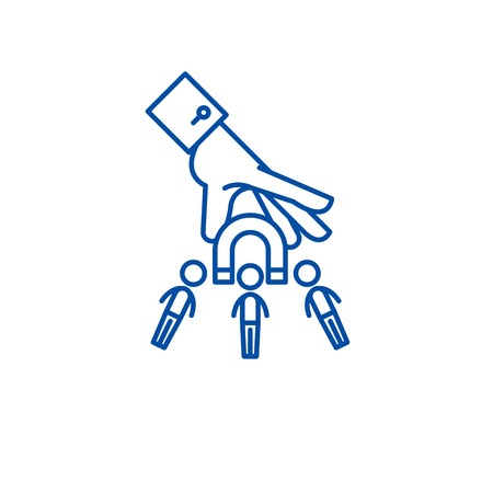 Illustration pour Market target line concept icon. Market target flat  vector website sign, outline symbol, illustration. - image libre de droit