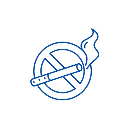 Illustration pour No smoking line concept icon. No smoking flat  vector website sign, outline symbol, illustration. - image libre de droit
