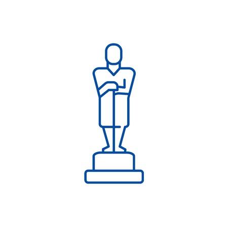 Illustration pour Oscar,trophy line concept icon. Oscar,trophy flat  vector website sign, outline symbol, illustration. - image libre de droit