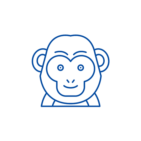 Illustration for Funny monkey line concept icon. Funny monkey flat  vector website sign, outline symbol, illustration. - Royalty Free Image