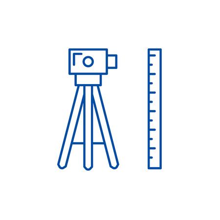 Illustration pour Geodesy line concept icon. Geodesy flat  vector website sign, outline symbol, illustration. - image libre de droit