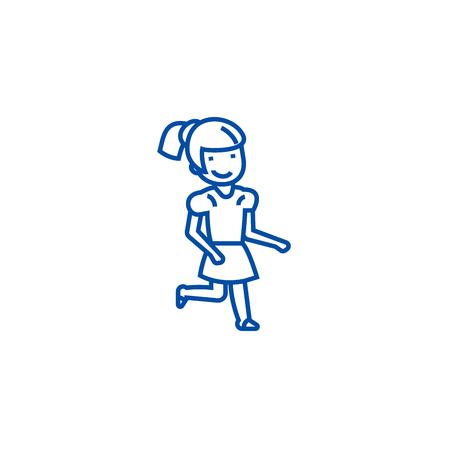 Ilustración de Girl running line concept icon. Girl running flat  vector website sign, outline symbol, illustration. - Imagen libre de derechos