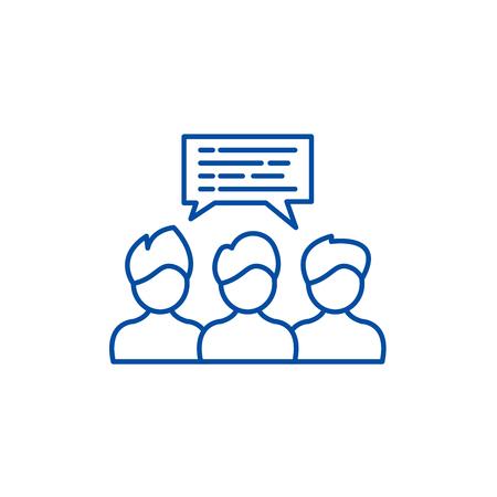 Illustration pour Group coaching line concept icon. Group coaching flat  vector website sign, outline symbol, illustration. - image libre de droit