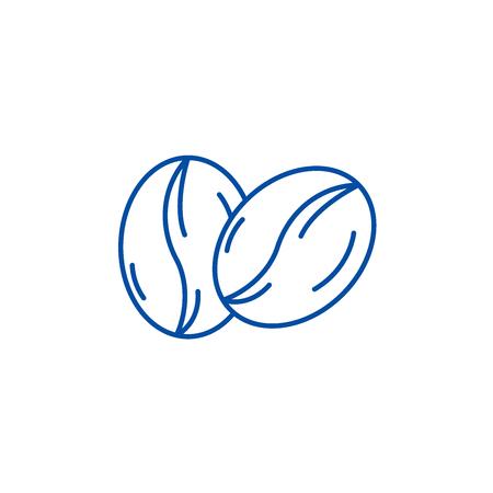 Illustration pour Coffee beans line concept icon. Coffee beans flat  vector website sign, outline symbol, illustration. - image libre de droit