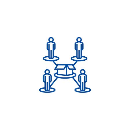 Ilustración de Crowdfunding,people network line concept icon. Crowdfunding,people network flat  vector website sign, outline symbol, illustration. - Imagen libre de derechos