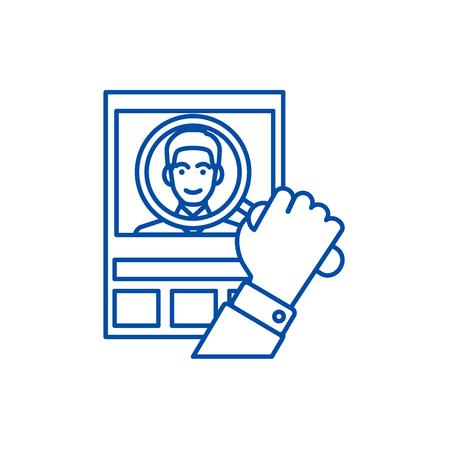 Illustration pour Cv,human resources,personal line concept icon. Cv,human resources,personal flat  vector website sign, outline symbol, illustration. - image libre de droit
