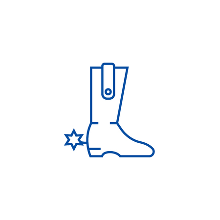 Ilustración de Cowboy boot line concept icon. Cowboy boot flat  vector website sign, outline symbol, illustration. - Imagen libre de derechos