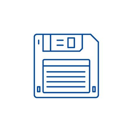 Illustration pour Diskette line concept icon. Diskette flat  vector website sign, outline symbol, illustration. - image libre de droit