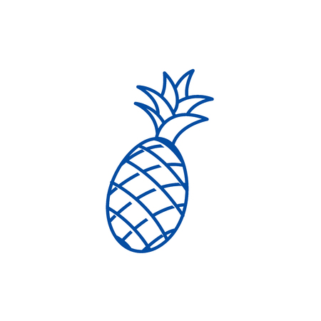 Ilustración de Pineapple line concept icon. Pineapple flat  vector website sign, outline symbol, illustration. - Imagen libre de derechos