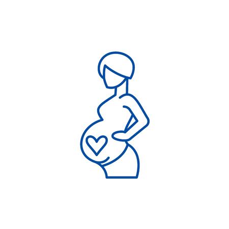 Ilustración de Pregnancy line concept icon. Pregnancy flat  vector website sign, outline symbol, illustration. - Imagen libre de derechos