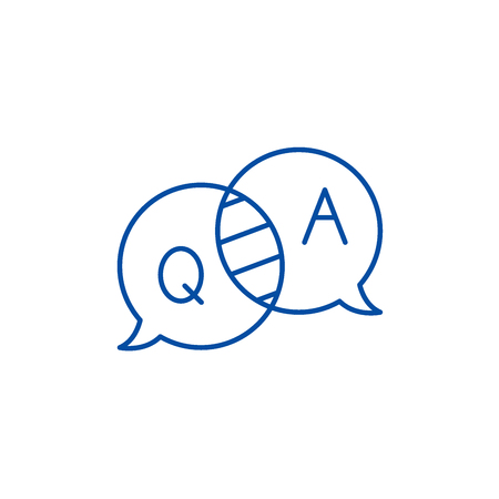 Ilustración de Questions and answers line concept icon. Questions and answers flat  vector website sign, outline symbol, illustration. - Imagen libre de derechos