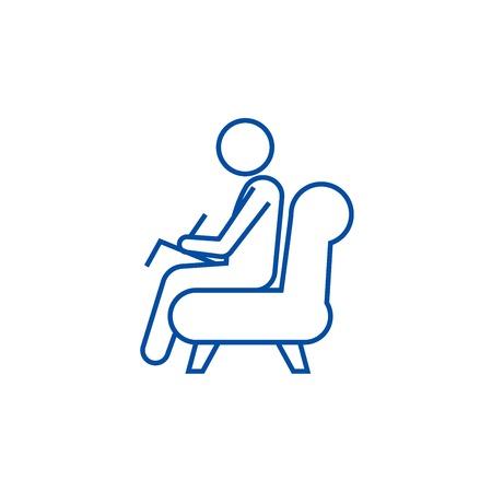 Illustration pour Psychologist,consultant  line concept icon. Psychologist,consultant  flat  vector website sign, outline symbol, illustration. - image libre de droit