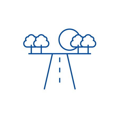 Illustrazione per Road in horizont line concept icon. Road in horizont flat  vector website sign, outline symbol, illustration. - Immagini Royalty Free