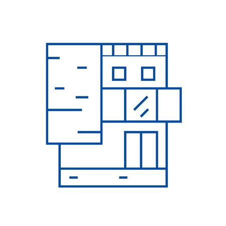 Illustration pour Small office building line concept icon. Small office building flat  vector website sign, outline symbol, illustration. - image libre de droit