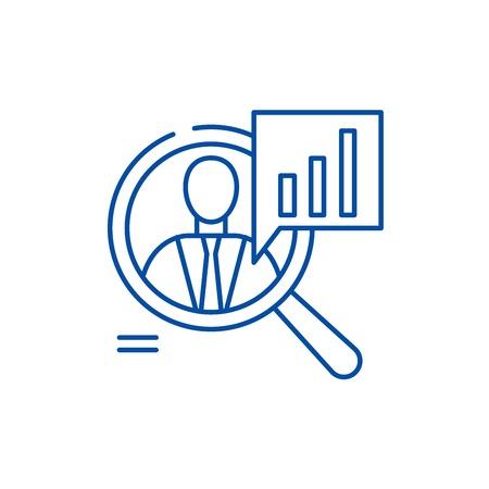 Ilustración de Staff performance line concept icon. Staff performance flat  vector website sign, outline symbol, illustration. - Imagen libre de derechos