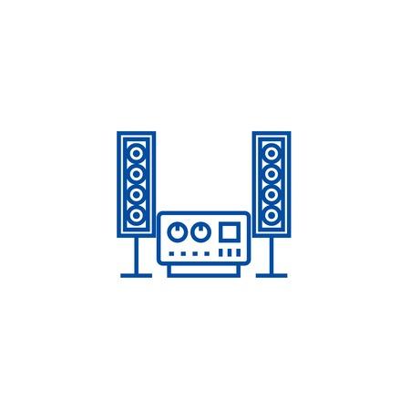 Illustration pour Stereo, sound, hi fi system line concept icon. Stereo, sound, hi fi system flat  vector website sign, outline symbol, illustration. - image libre de droit