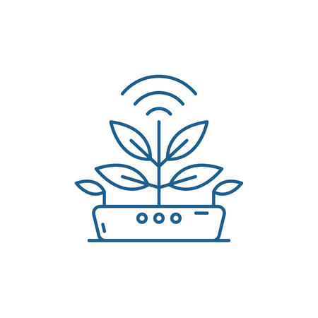 Illustration for Agro technology line concept icon. Agro technology flat  vector website sign, outline symbol, illustration. - Royalty Free Image