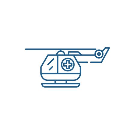 Illustration pour Ambulance helicopter line concept icon. Ambulance helicopter flat  vector website sign, outline symbol, illustration. - image libre de droit