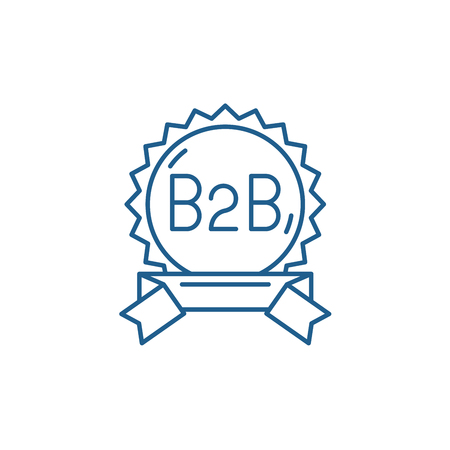Ilustración de B2b line concept icon. B2b flat  vector website sign, outline symbol, illustration. - Imagen libre de derechos