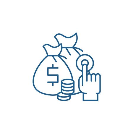 Ilustración de Affiliate sales line concept icon. Affiliate sales flat  vector website sign, outline symbol, illustration. - Imagen libre de derechos
