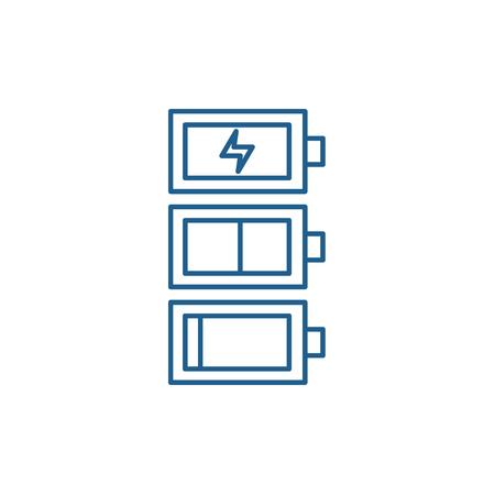 Ilustración de Battery charge line concept icon. Battery charge flat  vector website sign, outline symbol, illustration. - Imagen libre de derechos
