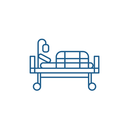 Illustration pour Bed in hospital line concept icon. Bed in hospital flat  vector website sign, outline symbol, illustration. - image libre de droit