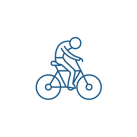 Illustrazione per Bicycle race line concept icon. Bicycle race flat  vector website sign, outline symbol, illustration. - Immagini Royalty Free
