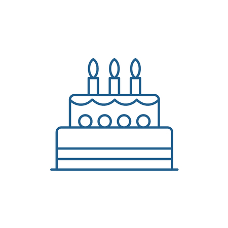 Illustration pour Birthday cake line concept icon. Birthday cake flat  vector website sign, outline symbol, illustration. - image libre de droit