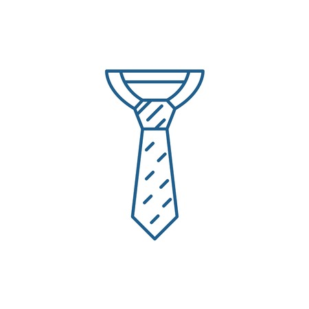 Illustration for Business tie line concept icon. Business tie flat  vector website sign, outline symbol, illustration. - Royalty Free Image