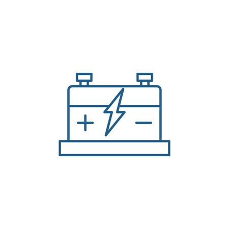 Illustration pour Car battery line concept icon. Car battery flat  vector website sign, outline symbol, illustration. - image libre de droit