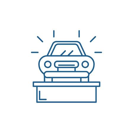 Illustration pour Car showroom line concept icon. Car showroom flat  vector website sign, outline symbol, illustration. - image libre de droit