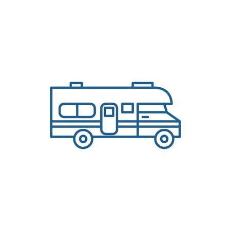 Illustration pour Caravan car line concept icon. Caravan car flat  vector website sign, outline symbol, illustration. - image libre de droit