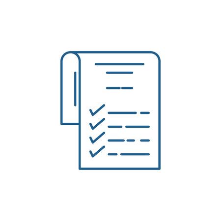 Illustration pour Check list line concept icon. Check list flat  vector website sign, outline symbol, illustration. - image libre de droit