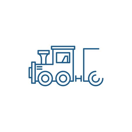 Illustration pour Childrens locomotive line concept icon. Childrens locomotive flat  vector website sign, outline symbol, illustration. - image libre de droit