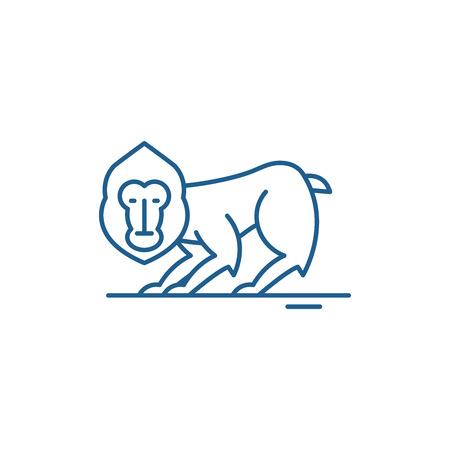 Illustration for Chimpanzee line concept icon. Chimpanzee flat  vector website sign, outline symbol, illustration. - Royalty Free Image