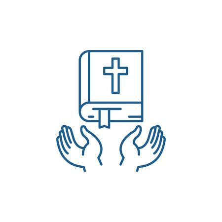 Illustration for Christian religion line concept icon. Christian religion flat  vector website sign, outline symbol, illustration. - Royalty Free Image