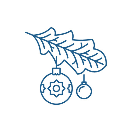 Illustration for Christmas tree branch line concept icon. Christmas tree branch flat  vector website sign, outline symbol, illustration. - Royalty Free Image