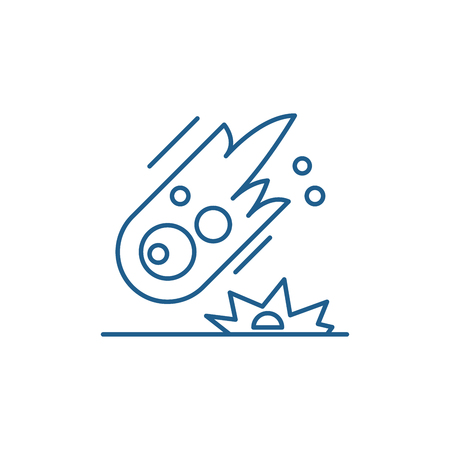 Ilustración de Comet line concept icon. Comet flat  vector website sign, outline symbol, illustration. - Imagen libre de derechos