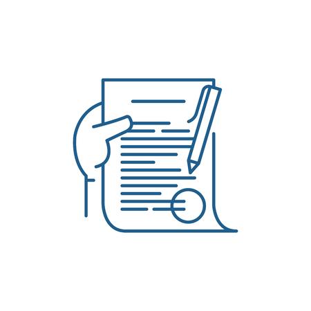 Illustration pour Commitment line concept icon. Commitment flat  vector website sign, outline symbol, illustration. - image libre de droit