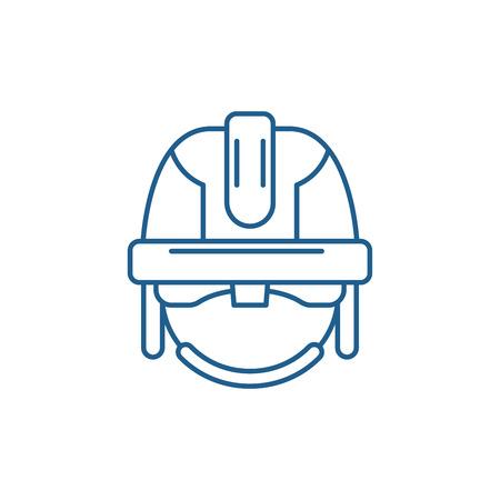 Illustration pour Construction mask line concept icon. Construction mask flat  vector website sign, outline symbol, illustration. - image libre de droit