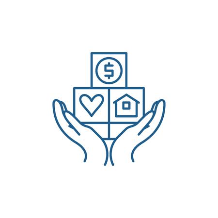 Illustration pour Consumer insurance line concept icon. Consumer insurance flat  vector website sign, outline symbol, illustration. - image libre de droit
